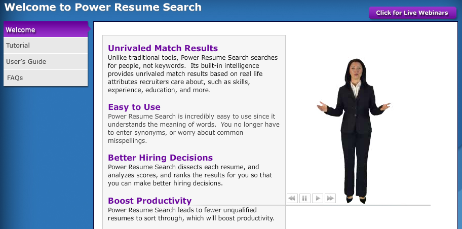 Power Resume Search Welcome Screen