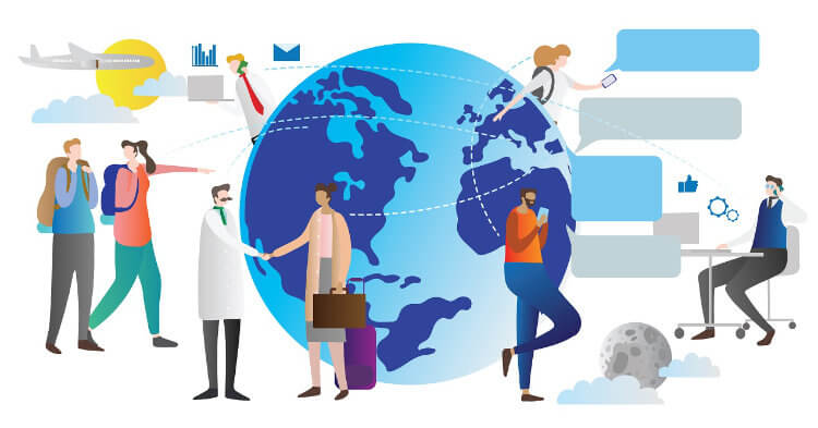 A globe showing a variety of people working together across different countries