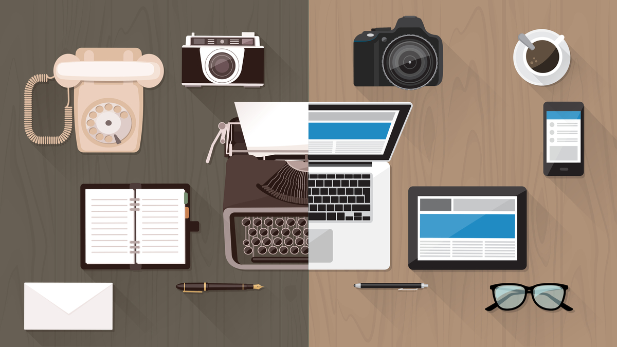 transition from old technology to modern technology on a desk