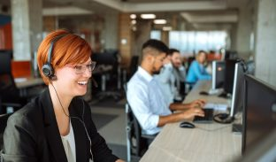 team of call center agents at a desk