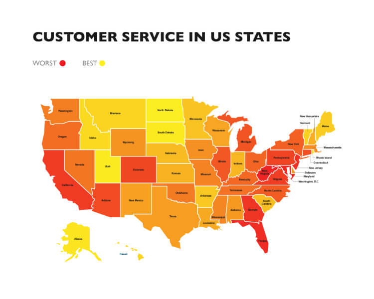 Best and worst states for customer service